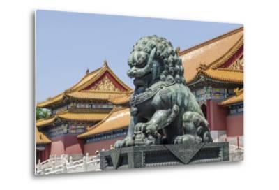 Bronze Lion Guarding the Entrance to the Gate of Supreme Harmony, Forbidden City, Beijing China-Michael DeFreitas-Metal Print