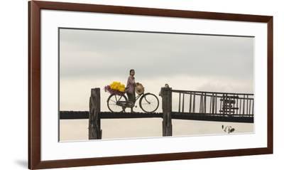 Myanmar, Mandalay. Woman Walks Her Flower-Laden Bicycle across U Bein Bridge-Brenda Tharp-Framed Premium Photographic Print