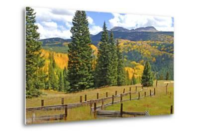 Old Wooden Fence and Autumn Colors in the San Juan Mountains of Colorado-John Alves-Metal Print