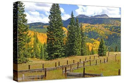 Old Wooden Fence and Autumn Colors in the San Juan Mountains of Colorado-John Alves-Stretched Canvas Print