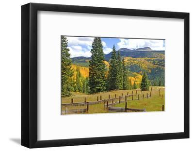 Old Wooden Fence and Autumn Colors in the San Juan Mountains of Colorado-John Alves-Framed Photographic Print