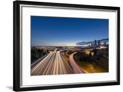 City Skyline and Interstate 90 and 5 from Jose Rizal Bridge in Downtown Seattle, Washington State-Chuck Haney-Framed Photographic Print