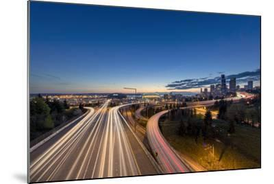 City Skyline and Interstate 90 and 5 from Jose Rizal Bridge in Downtown Seattle, Washington State-Chuck Haney-Mounted Photographic Print