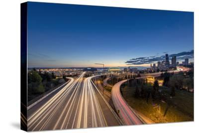 City Skyline and Interstate 90 and 5 from Jose Rizal Bridge in Downtown Seattle, Washington State-Chuck Haney-Stretched Canvas Print