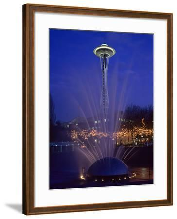 Wa, Seattle, International Fountain with Holiday Lights and the Space Needle-Jamie And Judy Wild-Framed Photographic Print