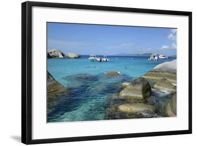 British Virgin Islands, Virgin Gorda. Boats and Tourists at the Baths-Kevin Oke-Framed Photographic Print