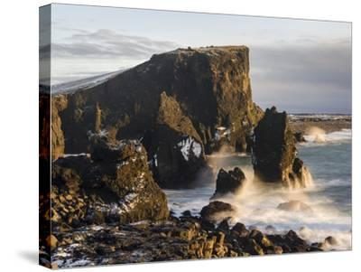 North Atlantic Coast During Winter Near Reykjanesviti and Valahnukur. Iceland-Martin Zwick-Stretched Canvas Print