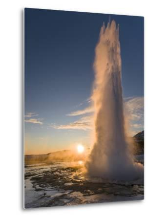 The Geysir Strokkur in Geothermal Area Haukadalur Part, Touristic Route Golden Circle During Winter-Martin Zwick-Metal Print