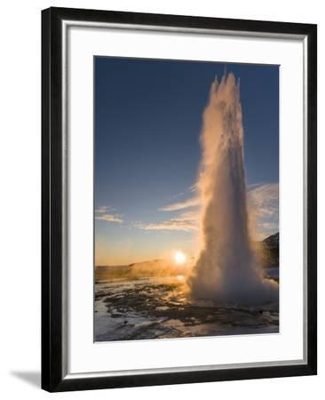 The Geysir Strokkur in Geothermal Area Haukadalur Part, Touristic Route Golden Circle During Winter-Martin Zwick-Framed Photographic Print