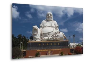 Vietnam, Mekong Delta. My Tho, Vinh Trang Pagoda, Giant Sitting Buddha Statue-Walter Bibikow-Metal Print