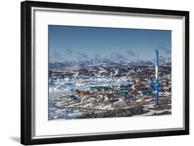 Greenland, Disko Bay, Ilulissat, Elevated Town View with Floating Ice-Walter Bibikow-Framed Photographic Print