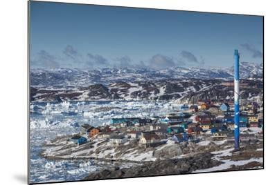 Greenland, Disko Bay, Ilulissat, Elevated Town View with Floating Ice-Walter Bibikow-Mounted Photographic Print