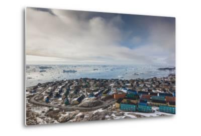 Greenland, Disko Bay, Ilulissat, Elevated Town View with Floating Ice-Walter Bibikow-Metal Print