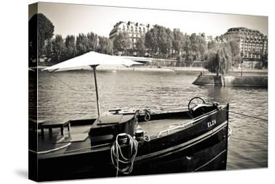 Boat Docked Along the Seine River, Paris, France-Russ Bishop-Stretched Canvas Print