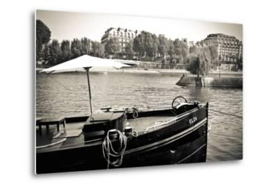 Boat Docked Along the Seine River, Paris, France-Russ Bishop-Metal Print