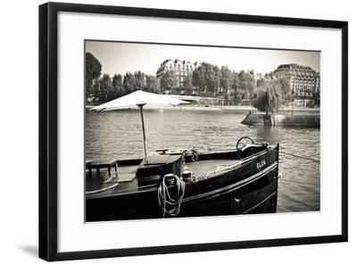 Boat Docked Along the Seine River, Paris, France-Russ Bishop-Framed Photographic Print
