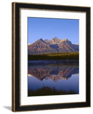 Canada, Alberta, Banff National Park, Sunrise Light on the Bow Range Reflects in Herbert Lake-John Barger-Framed Photographic Print