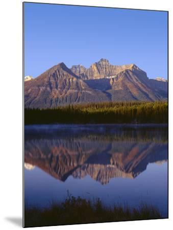 Canada, Alberta, Banff National Park, Sunrise Light on the Bow Range Reflects in Herbert Lake-John Barger-Mounted Photographic Print