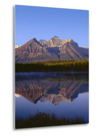 Canada, Alberta, Banff National Park, Sunrise Light on the Bow Range Reflects in Herbert Lake-John Barger-Metal Print