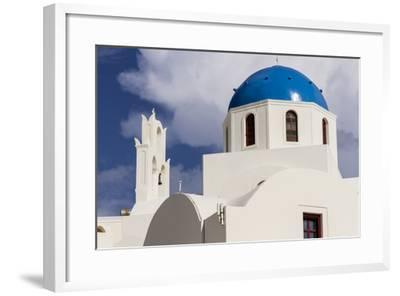 Blue Roofed Churches and Homes are Everywhere on the Island. Santorini. Greece-Tom Norring-Framed Photographic Print