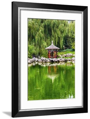 Red Pavilion Lotus Pads Garden Temple of Sun City Park, Beijing, China Willow Green Trees-William Perry-Framed Photographic Print