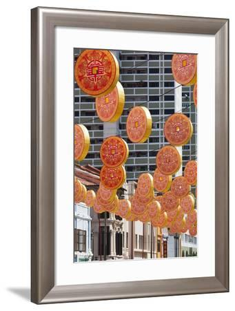 Singapore, Chinatown, Decorations for Chinese New Year-Walter Bibikow-Framed Photographic Print