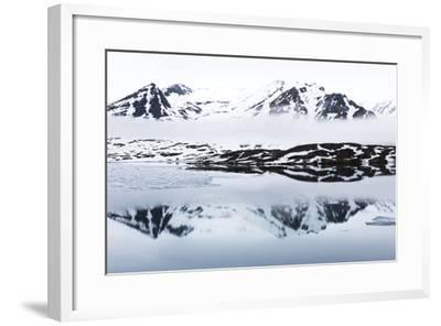 Norway, Svalbard, Monacobreen Glacier, Reflections of Mountains and Glacier-Ellen Goff-Framed Photographic Print
