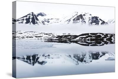 Norway, Svalbard, Monacobreen Glacier, Reflections of Mountains and Glacier-Ellen Goff-Stretched Canvas Print