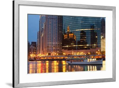 Chicago River and Skyline at Dusk in Summer with Boats-Alan Klehr-Framed Photographic Print