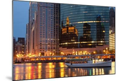 Chicago River and Skyline at Dusk in Summer with Boats-Alan Klehr-Mounted Photographic Print