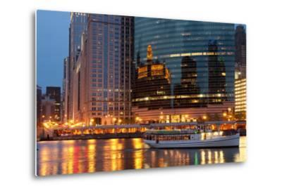 Chicago River and Skyline at Dusk in Summer with Boats-Alan Klehr-Metal Print