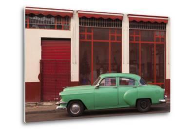 Cuba, Havana. Green Car, Red Building on the Streets-Brenda Tharp-Metal Print