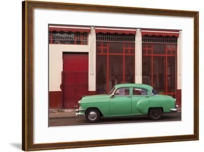 Cuba, Havana. Green Car, Red Building on the Streets-Brenda Tharp-Framed Photographic Print