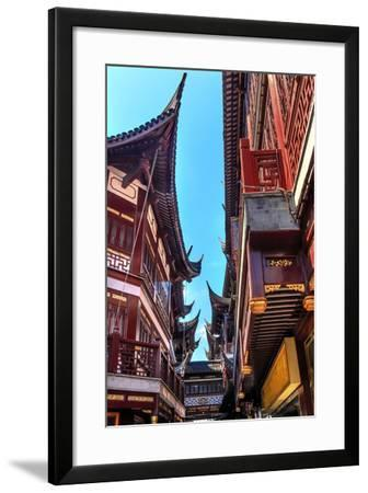 Old Shanghai Houses, Red Roofs, Narrow Ally, Yuyuan Old Town, Shanghai, China-William Perry-Framed Photographic Print