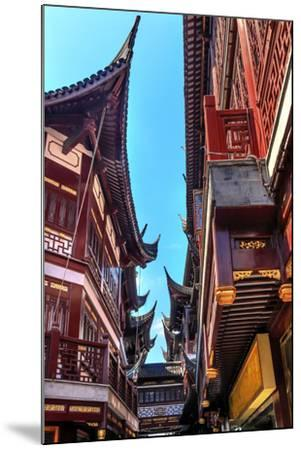 Old Shanghai Houses, Red Roofs, Narrow Ally, Yuyuan Old Town, Shanghai, China-William Perry-Mounted Photographic Print