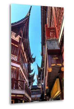 Old Shanghai Houses, Red Roofs, Narrow Ally, Yuyuan Old Town, Shanghai, China-William Perry-Metal Print