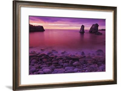 Sea Stacks at Dusk, Soberanes Point, Garrapata State Park, Big Sur, California, Usa-Russ Bishop-Framed Photographic Print