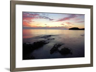 Canada, British Columbia, Cabbage Island. Colorful Sunset Overlooking the Straight of Georgia-Kevin Oke-Framed Photographic Print