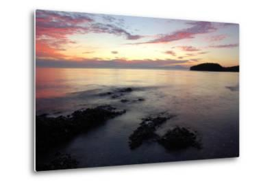Canada, British Columbia, Cabbage Island. Colorful Sunset Overlooking the Straight of Georgia-Kevin Oke-Metal Print