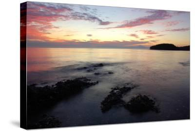 Canada, British Columbia, Cabbage Island. Colorful Sunset Overlooking the Straight of Georgia-Kevin Oke-Stretched Canvas Print
