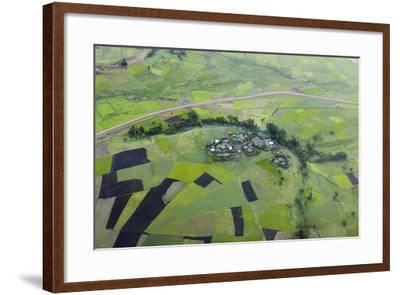 Africa, Ethiopian Highlands, Western Amhara. Aerial View of Village and Fields-Ellen Goff-Framed Photographic Print