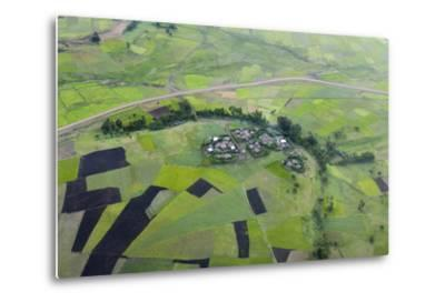 Africa, Ethiopian Highlands, Western Amhara. Aerial View of Village and Fields-Ellen Goff-Metal Print