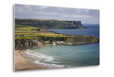 View over Village of Portbraddan and the North Coast of County Antrim, Northern Ireland, Uk-Brian Jannsen-Metal Print