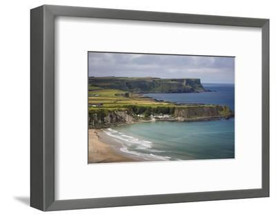 View over Village of Portbraddan and the North Coast of County Antrim, Northern Ireland, Uk-Brian Jannsen-Framed Photographic Print