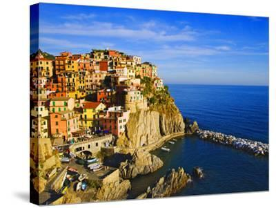 Europe, Italy, Manarola. Hillside Town Overlooking Ocean-Jaynes Gallery-Stretched Canvas Print