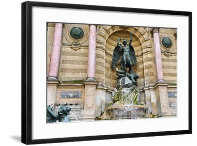 Fontaine Saint-Michel, Left Bank, Paris, France-Russ Bishop-Framed Photographic Print