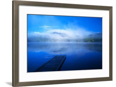 An Empty Dock on a Calm Misty Lake-John Alves-Framed Photographic Print