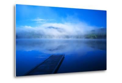 An Empty Dock on a Calm Misty Lake-John Alves-Metal Print
