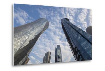 Qatar, Doha, Doha Bay, West Bay Skyscrapers, Dusk-Walter Bibikow-Metal Print