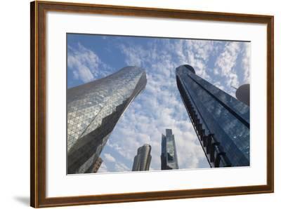 Qatar, Doha, Doha Bay, West Bay Skyscrapers, Dusk-Walter Bibikow-Framed Photographic Print